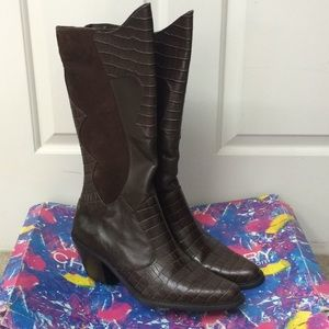 Darla Brown Faux Croc Suede High Leather Boots